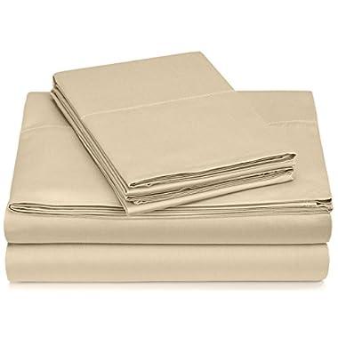 Pinzon 400-Thread-Count Egyptian Cotton Sateen Hemstitch Sheet Set - Queen, Taupe