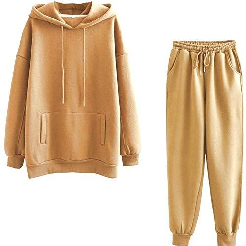 LaiYuTing Damen Fleece Hoodie Wintermode Damen Pullover Kapuzenjacke Lose Pullover Hosen Set