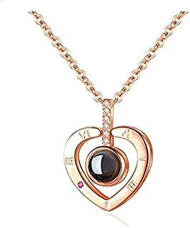 S925 sterling silver projection 100 languages I love you Charm pendant necklace for women choker