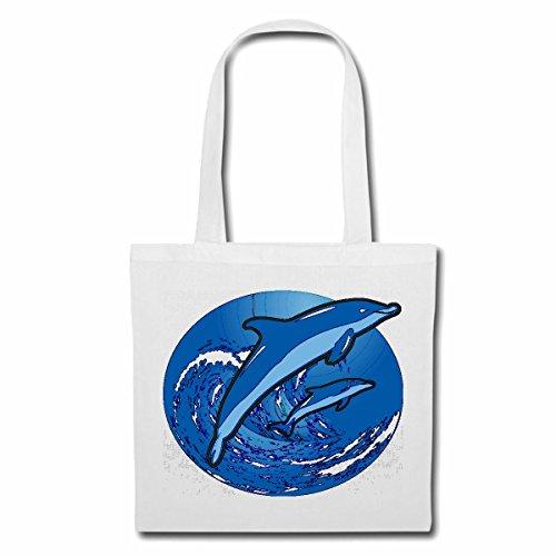 Tasche Umhängetasche Zwei Delphine SPRINGEN IN DEN Wellen Delfin Delfine DELPHINIDAE MEERESSÄUGER Flipper SÄUGETIER ZAHNWAL Einkaufstasche Schulbeutel Turnbeutel in Weiß