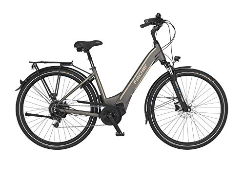 FISCHER E-Bike City CITA 6.0i, Elektrofahrrad, platingrau matt, 28 Zoll, RH 44 cm, Brose Mittelmotor 50 Nm, 36V Akku im Rahmen