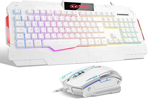 Teclado para juegos Qwertz GK806 Rainbow, retroiluminación LED, con cable, ratón óptico,...