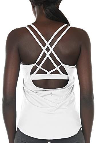 icyzone Damen Sport Yoga Tank Top mit Integriertem BH - 2 in 1 Sport Oberteile Fitness Gym Shirts (S, Weiß)