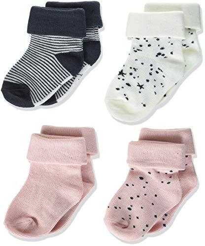 Noppies G Socks 4pck Eva Dot Peach Skin, Stripe White Calcetines, Assorti, 3-6 Meses para Bebés
