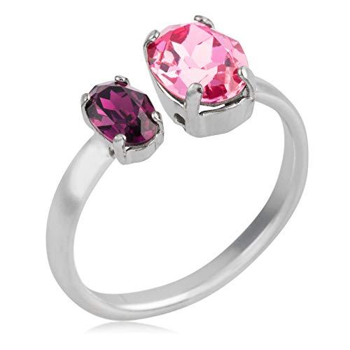 Córdoba Jewels | Sortija en plata de ley 925 con cristales by Swarovski con diseño Doble Oval Swarovski Rosa Morado Silver
