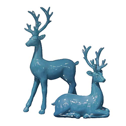 2pcs Creative Couple Deer Sculptures Reindeer Figurines Animal Statues, Office Bookself Ornaments, Home Decor Collectible Wedding Gifts - Blue