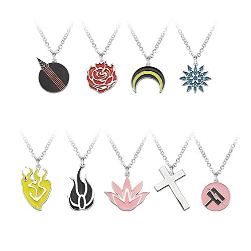 HLZG 9 Pieces Anime RWBY Necklace Suits Game Cosplay Costume Pendant Sets