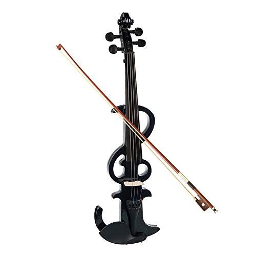 ABMBERTK,Violino Elettrico, 4/4 Violino Elettrico Silenzioso, Violino Full Size, Tastiera in Ebano, Nero