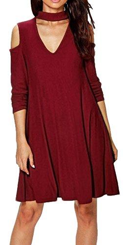 Morbuy Blusas Mujeres, Vintage Tamaño Más Mini Vestido A-Linear Casual Camisetas Góticas Camisas Largas Estampadas Camisetas Manga Larga Cuello Redondo Vestido Camisetas (M, Vino Tinto)