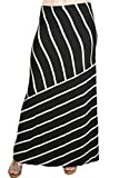 Matty M Ladies Maxi Skirt (Medium, Black & Gray Stripe)