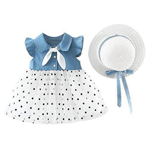 YEBIRAL Baby Mädchen Sommerkleid Gerüscht Tüll Kleid Knopfleiste Ärmellose Urlaub Punkte Kleinkind Prinzessin Kleidung Outfit + Hut Set