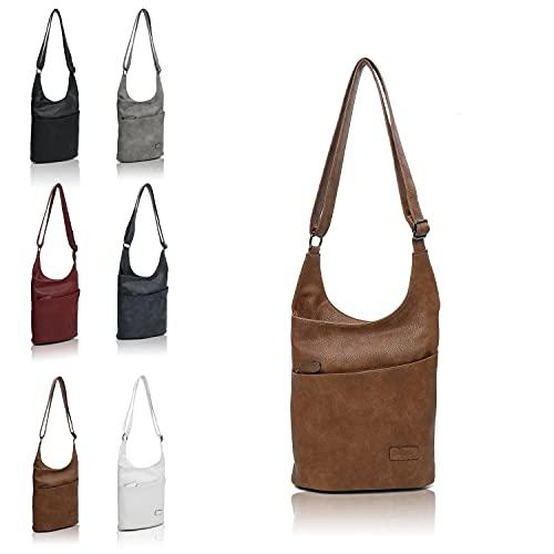 Damen Umhängetasche Beige - Schultertasche - Damenhandtasche - Handtasche - Crossbody - Messenger Bag - Shopper Tasche - premium Tote