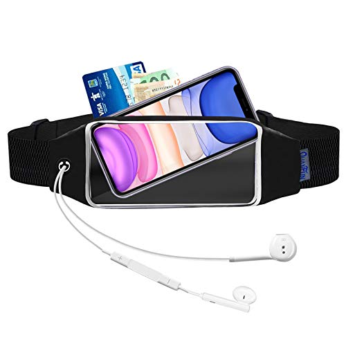 "QUANFUN Running Belt for iPhone 11/12 Pro Max, XS Max, Galaxy S10+ S20 Plus, S20 Ultra, Note 20, Water Resistant Fanny Pack Sports Fitness Waist Pouch fits Large Phones UP to 6.9"" With OtterBox/Case"