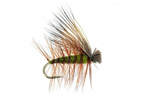 Feeder Creek Fly Fishing Trout Flies - Elk Hair Caddis Olive - Hand Tied Dry Trout Fly Pattern - 4 Size Assortment 12,14,16,18 - One Dozen (3 of Each Size) Hand Tied