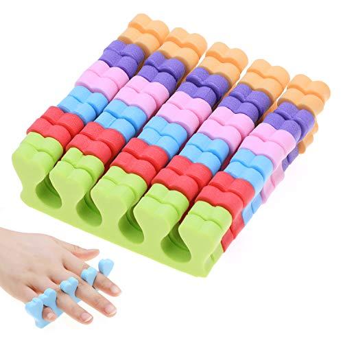 MWOOT 6 Paare Schwamm Zehenspreizer,Weichschaum Finger Spreader Set,Zehen Separator Fingerteiler Abstandhalter Pediküre Maniküre Werkzeug