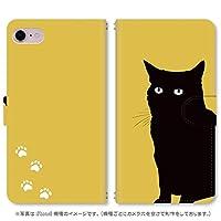 スマホ スマートフォン 手帳 スマホケース くろねこシリーズ【462_イエロー黒猫 iPhone6s】