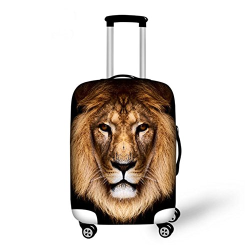 HUGS IDEA Lion Pattern Thick Suitcase Protective Anti-Scratch Luggage Cover Fits 22/24/26 Inch
