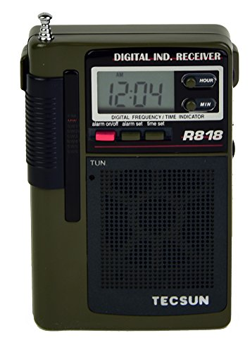 Tecsun R818 Portable 8-Band AM/FM Shortwave Pocket Radio with Digital Alarm Clock