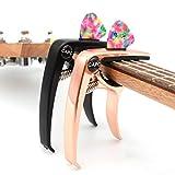 Capo Guitar Capo Rose Gold Capo Black Capo 2 Pack 3in1 Zinc Metal Capo for 6 & 12 String Acoustic Electric Classical Bass Ukulele (Rose Gold+Black capo)