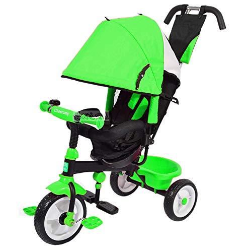 Triciclo Passeggino Trike con SEGGIOLINO MODULARE 4 in 1 CRESCE con Il Tuo Bimbo (Verde)