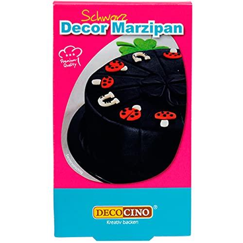 Decocino Decor Marzipan Schwarz – vegane Marzipan-Rohmasse – Kuchen-Deko, Torten-Deko –zum Verzieren, als Back-Deko und zum Modellieren von Figuren, 200 g