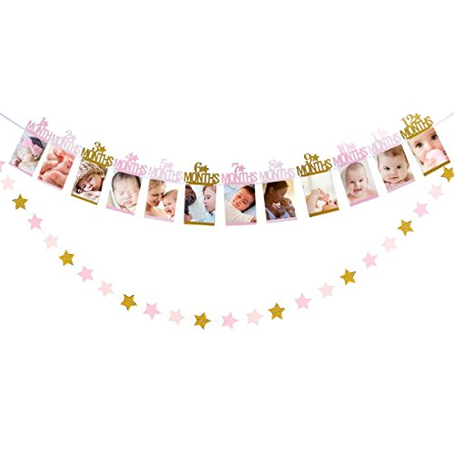 1st Birthday Baby Photo Banner for 1 Months to 12 Months,First Birthday Celebration Decorations,Kids Monthly Milestone Garland Photo Props,Birthday Party Decorations