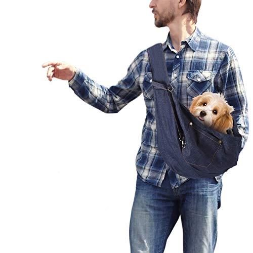 YOUTHINK Bandoleras para Perros, Bolso Perro Transporte de Manos Libres para Mascota de Lavado a Máquina, Bandolera con Bolsillo, Bolsa de Viaje con Cómoda Correa para el Hombro con Cordón