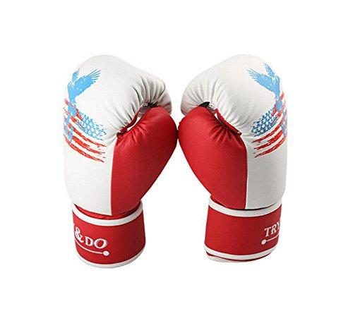 BLANCHO BEDDING 12 oz Refroidir d'Eagle la Formation des Adultes Gants de Boxe pour Kickboxing Sparring Muay Thai, Rouge Blanc