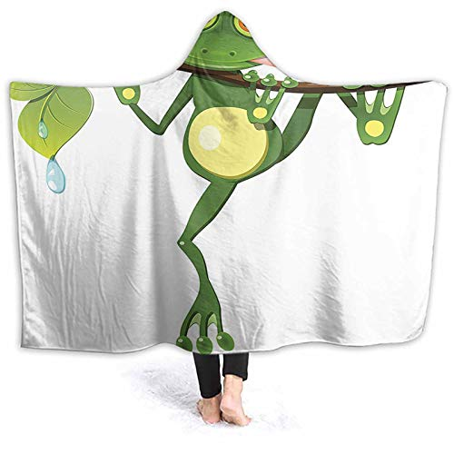 Hoodies Frog Branch The Tree Rain Nature Jungle Life Green White Blanket Poncho Thingy for A Relaxing Night at Home 80 x 60 Inch