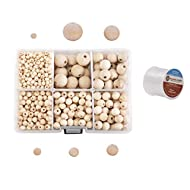 Mandala Crafts Unvarnished Raw Wood Beads for Jewelry Making, Garlands, Chandeliers, Spacers, Macramé Crafting (Natural, 6 8 10 12 16 20 MM)
