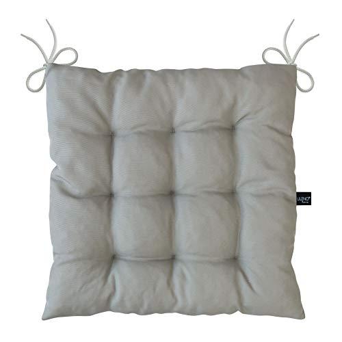 LILENO HOME 2er Set Stuhlkissen Grau (40x40x6 cm) - Sitzkissen für Gartenstuhl, Esszimmerstuhl oder Küche - Bequeme UV-beständige Indoor u. Outdoor Stuhlauflage als Stuhl Kissen