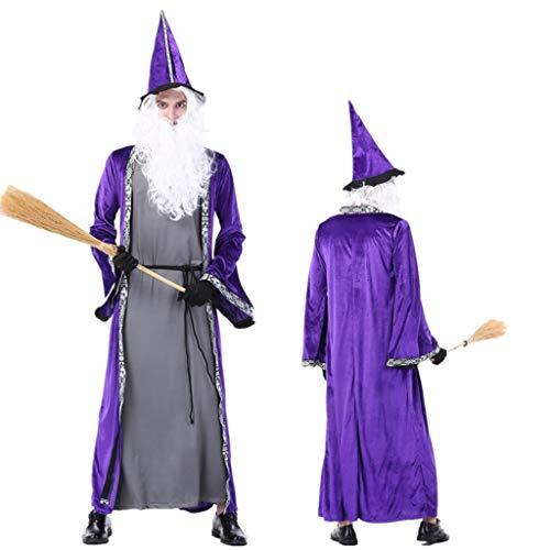 1-1 Asistente de Disfraces de Halloween de los Hombres Adultos sombría púrpura Reaper Gran tamaño de Grupo del Traje del Vestido Fiestas temáticas (Sombrero, Vestido, Bata),Purple-XL