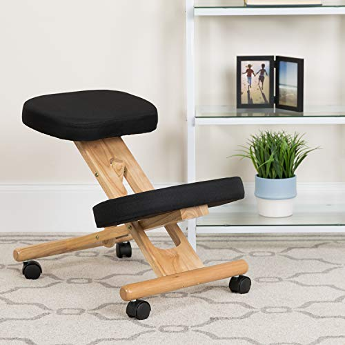 EMMA + OLIVER Mobile Wooden Ergonomic Kneeling Office Chair in Black Fabric