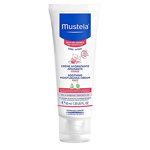 Mustela Baby Soothing Moisturizing Cream - Face Moisturizer for Very Sensitive Skin - with Natural Avocado & Schizandra Berry - Fragrance-Free - 1.35 fl. Oz