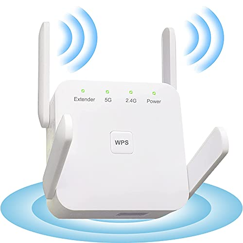 Dupelec Repetidor WiFi [1200 Mbps], extensión de 2,4 G/5 G con 4 antenas, modo AP/repetidor, con fibra óptica/puerto LAN, extender la cobertura WiFi