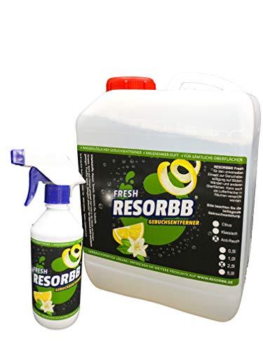 RESORBB® FRESH wasserlösliche Geruchsneutralisierer kann auch als Raumspray verwendet werden (Anti-Rauch und Brandgeruch, 2,5 Liter Kanister mit Sprühflasche)