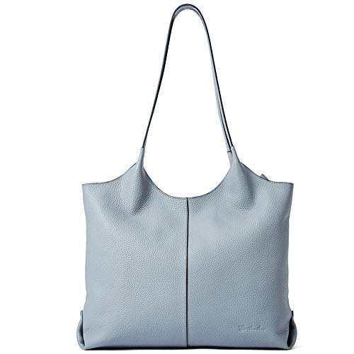 BOSTANTEN Women Handbags Designer Shoulder Tote Bag Soft Genuine Leather Top-handle Purse Light Blue
