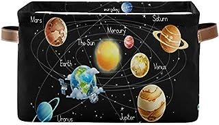 DOSHINE - Panier de rangement pliable avec poignées - Motif univers galaxie, espace solaire - Grand cube de rangement - Pa...