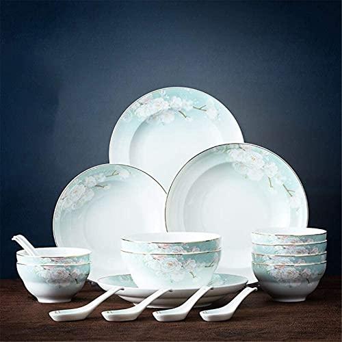 Juego de vajilla clásica, platos de cerámica para el hogar, vajilla de estilo chino Phnom, juego de vajilla con cuchara y platos de arroz antiquemaduras, 18 piezas (color verde, tamaño: uno