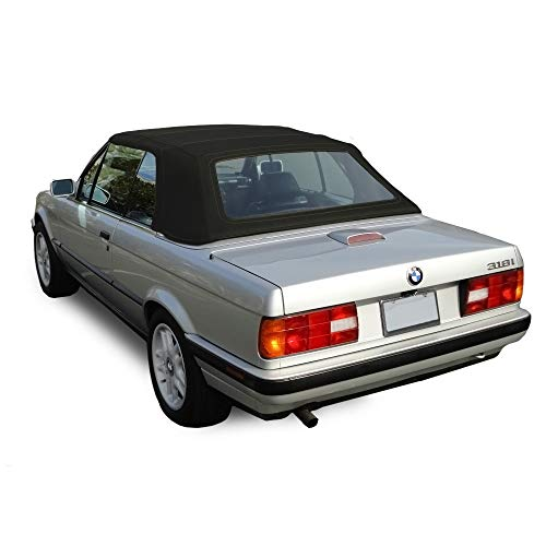 AutoBerry Compatible with BMW 3 Series E30 Convertible Soft top 1987-1993 325i, 320i, 318i M3 Black Stayfast Cloth