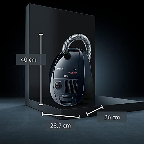Siemens Z 3.0 extreme power Bodenstaubsauger mit Beutel VSZ3XTRM11, ideal für Tierhaare, niedriger Stromverbrauch, Hygienefilter, 850 Watt, schwarz