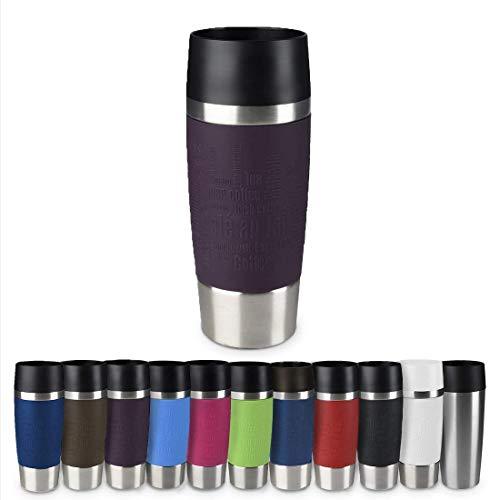 Emsa 513359 Travel Mug Thermo-/Isolierbecher, Fassungsvermögen: 360 ml, hält 4h heiß/ 8h kalt, 100{b046a1e0df1109a0ee72816edad98aa2b82dd45f4ff2165a721ee963af15c92c} dicht, auslaufsicher, Easy Quick-Press-Verschluss, 360°-Trinköffnung, brombeer