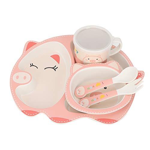 Lindo juego de alimentación de fibra de bambú para la hora de comer de 5 unids/set, juego de platos de dibujos animados para niños, para todders niños niñas bebés(Happy pig)