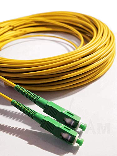 Elfcam® - Cable Fibra Óptica SC / APC a SC / APC Monomodo Simplex, Compatible con Orange, Movistar, Vodafone y Jazztel, 20M