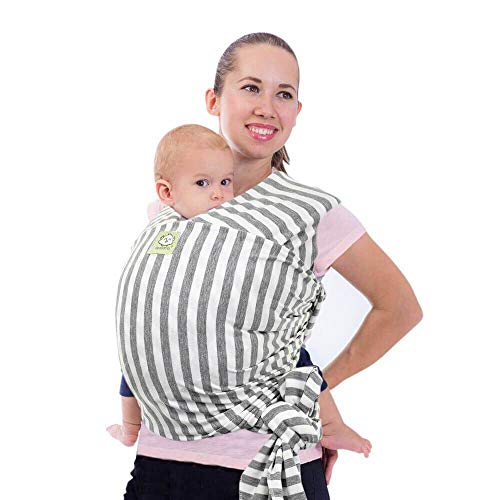 Baby Wrap Carrier - All in 1 Stretchy Baby Sling - Ergo Carrier Sling - Baby Carrier Wraps - Baby Carriers for Newborn, Infant - Baby Holder Straps - Baby Slings - Baby Sling Wrap (Gray Stripes)