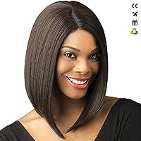 ヨーロッパとアメリカのファッションレディースボボウェーブヘッドウィッグケミカルファイバーヘアウィッグの黒い短いストレートヘア,Yellow