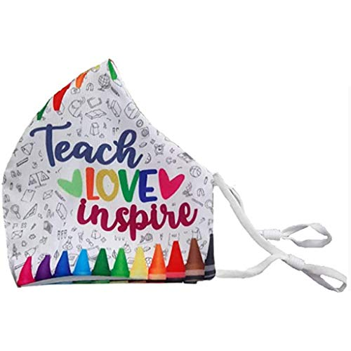 HADIY Teach Love Inspire Teacher Face Mask Teacher Gifts Washable Face Mask Reusable Face Masks Cotton Face Mask Teacher Face (Teach Love Inspire)