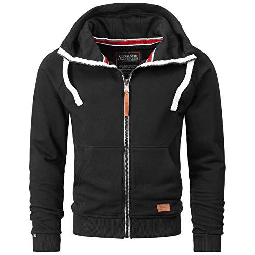 Alessandro Salvarini Herren Sweatjacke Kapuzenpullover Jacke Kapuze Hoodie Sweater AS192 [AS-192-Schwarz-Gr.XL]