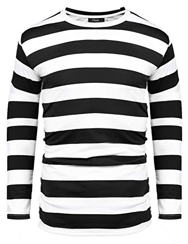 iClosam Camisetas para Hombre Manga Larga 2021 Rayas Cuello Redondo Tallas Grandes Camisa Blusa Top tee T-Shirts