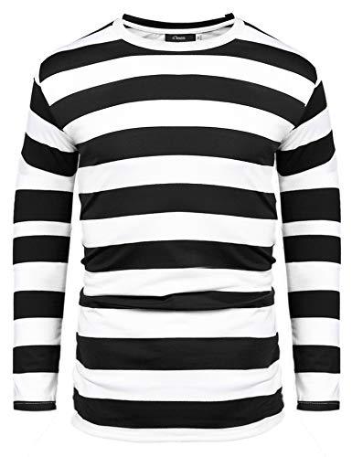 Herren Gestreiftes Shirt Longsleeve Leicht Basic mit Rundhals Ausschnitt,Schwarz-Weiss,Gr.M